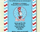 Custom birthday party invitation -- Dr. Suess theme -- Blue/Red/White -- Digital Design