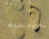 "Footprints in the Sand, ""You and Me"", 8x10 Photograph Print, California, Ocean, Golden Brown"