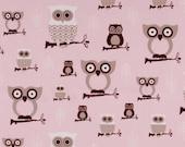 Premier Prints Hooty Owl Bella Pink Cozy Fabric