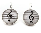 Treble Clef Earrings, Music Lever Back, SIlver Tone