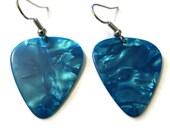 Light Blue Earrings, Guitar Pick Music Jewelry, Nickel-Free Dusk Blue Earrings