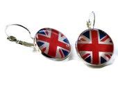 Union Jack Earrings, London Olympic Lever Back Earrings, British Flag Jewelry, Silver Tone