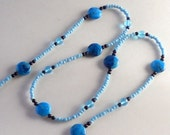 Blue Long Beaded Necklace Cyan Agate Stone Fashion Aqua Turquoise Light Blue Navy