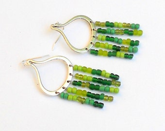 SALE Green Silver Chandelier Drop Earrings Beaded Dangles Teardrop Fashion Jewelry Lime Hippie Bohemian Boho Chic Dangle Beads Free Shipping