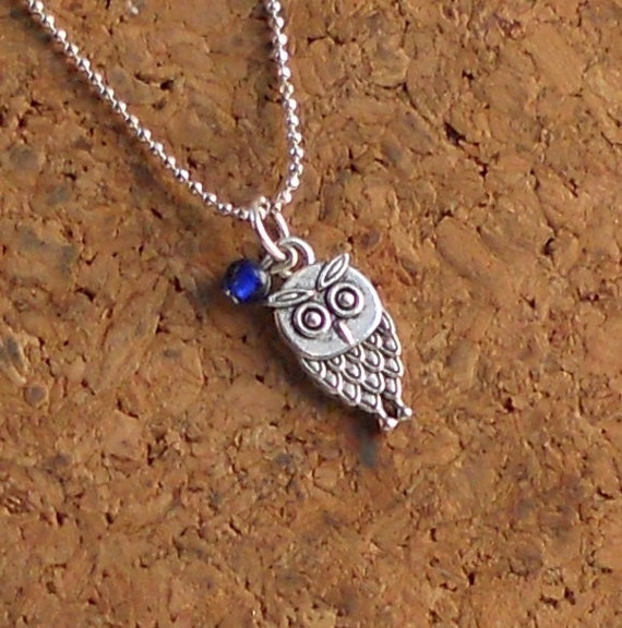 Silver Owl Necklace Tiny Boho Retro Cobalt Royal Blue Bead Minimalist Charm Pendant Fashion Jewelry Paisley Beading Free Shipping