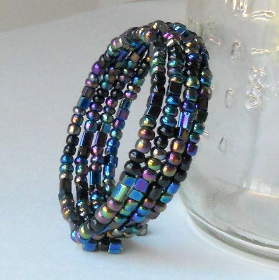 Black Iridescent Bracelet Beaded Memory Wire Fashion Jewelry Stacked Wrap