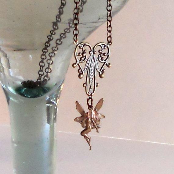 Fairy Pendant Antique Bronze Necklace Fashion Steampunk Victorian Feminine Fantasy Pink Filigree Heart Mauve