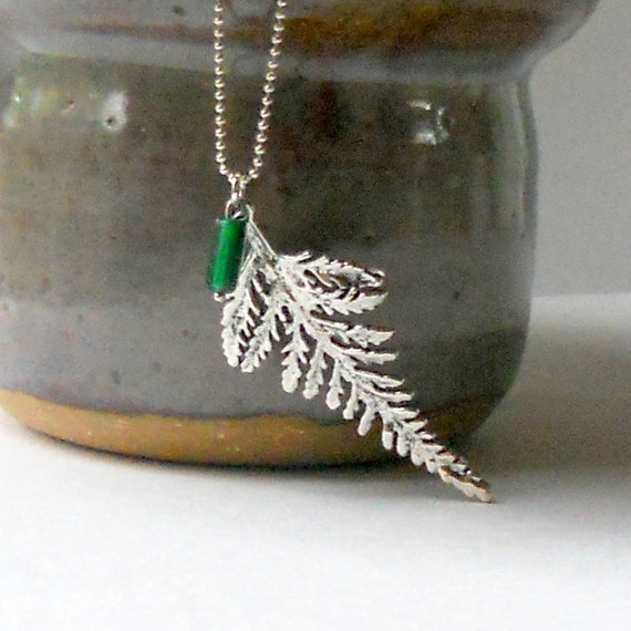 Fern Pendant Silver Leaf Necklace Green Emerald Glass Bead Fashion Nature Woodsy Jewelry