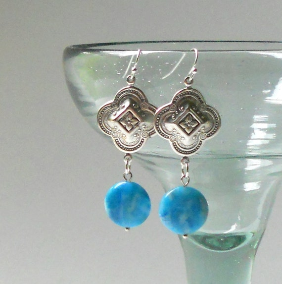SALE Boho Cyan Blue Agate  Moroccan Dangle Earrings Bohemian Natural Stone Silver Moorish Discs Fashion Jewelry Jewellery Dangles