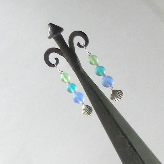 Sea Glass Beads Dangle Earrings Green Teal Blue Silver Shell Seashell Dangles Ocean Cool Fashion Jewelry Resort Cruise Summer Vacation Beach