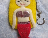 Cute Blonde Pink Tail Felt Mermaid Keychain Coin Purse