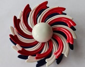 Vintage  red, white and blue Brooch 1960's style  multi dimensional floral swirl  white button center