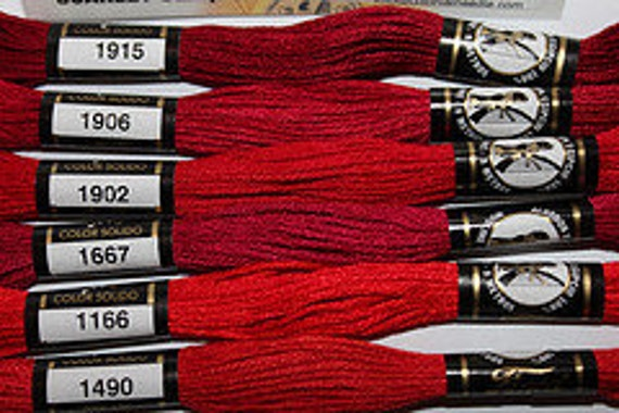 Embroidery Floss New Presencia Scarlet color sampler Six skeins craft floss embroidery thread