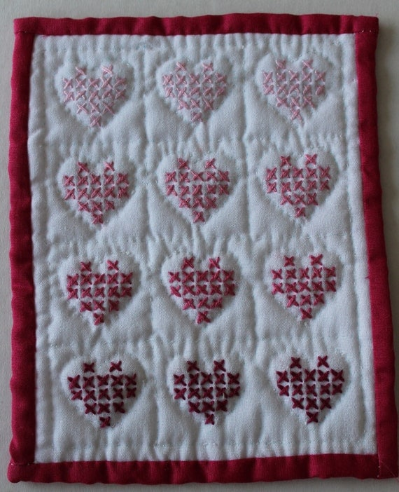 Hand made mini quilt pinks heart cross stitch pattern miniature doll house size