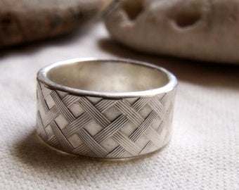 Trellis Ring - Sterling Silver Crisscross Pattern Wide Band - Men's Ring Unisex Ring - Made to Order Any Size