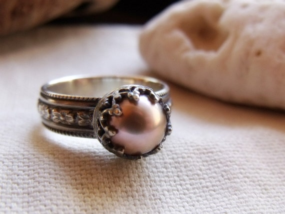 Crown Pearl Engagement Ring - Sterling Silver Wide Floral Band - Peach, Mauve or White 9mm Round Pearl - Patina Finish
