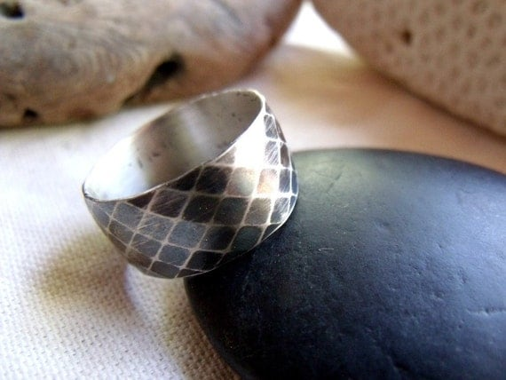 Men's Snakeskin Ring - Sterling Silver Diamond Pattern Wide Band - Dark Patina Finish - Made To Order Any Size