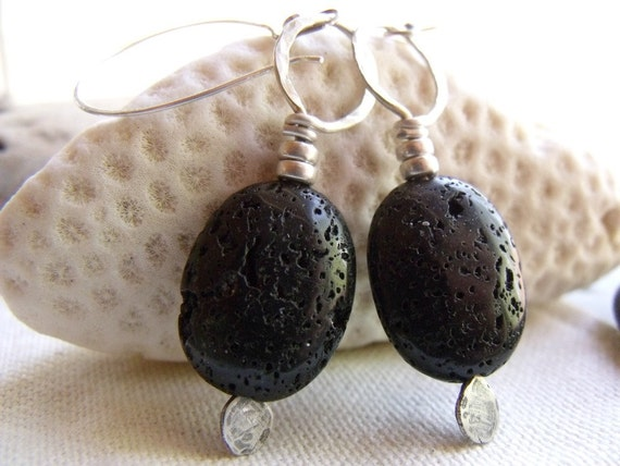 SALE - Lava Loops - Sterling Silver Earrings - Hand Forged Metalwork - Black Volcanic Natural Organic