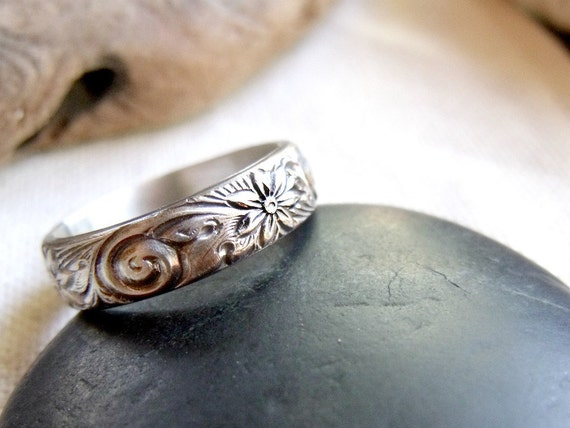 Sterling Silver Floral Swirl Ring - Flowers in the Breeze - Made to Order Any Size 4, 5, 6, 7, 8, 9, 10 1/2 Sizes Available - 14K Gold