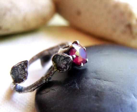 Natural Ruby Twig Ring - Sterling Silver Branch with Leaves - Prong Set Stone - July Birthstone - Size 8 to 8.5 US