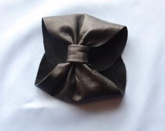 Genuine Leather Bow Cuff Bracelet
