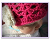 Pink Sparkle Crocheted Beanie with Cream Flower