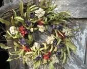 Rustic Americana wreath - Wreath for Door - Red Posies Blue Bellflowers and White Stock - Patriotic wreath - Red White and Blue wreath