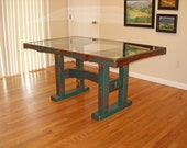 Dining Table - Reclaimed Barnwood with Glass