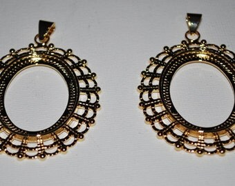 Gold Fancy Oval Cabochon Setting Pendant- Set of 2