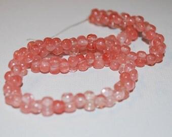 "Cherry ""Quartz"" Glass Peanut Beads- 16 in strand"