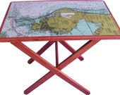 Solid Wood Folding Table With Chart of Tampa Bay Printed On Top