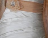 Beige Sheer Silk Bridal Sash with Handmade Flower