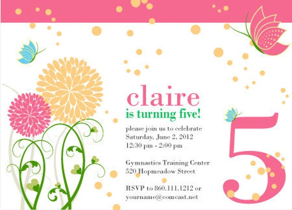 Items similar to Little Girl 5th Birthday Party Invite Butterfly – 5th Birthday Party Invitation