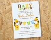 Giraffe Baby Shower Invitation, Printable Baby Shower Invitation