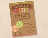 VINTAGE SWEET SHOPPE personalized printable birthday party invitation