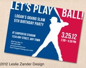 LET'S PLAY BALL baseball personalized printable grand slam birthday party invitation diy