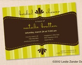BRIDAL or BABY SHOWER Invitation personalized printable lime green & brown