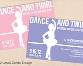 BALLET BALLERINA personalized printable party invitation