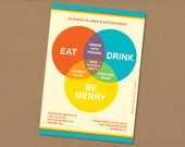 Eat, Drink & Be Merry personalized printable venn diagram party invitation