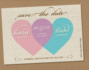 SAVE THE (wedding) DATE personalized printable heart-shaped venn diagram INSPIREDcard