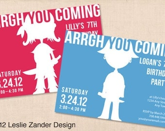 PIRATE personalized printable party invitation diy