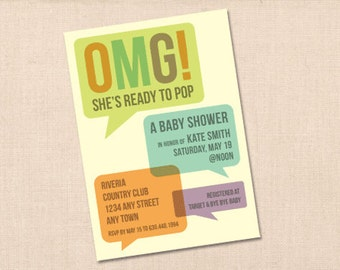 OMG She's ready to pop baby shower invitation personalized printable