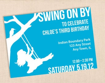 SWING ON BY personalized printable birthday party invitation diy