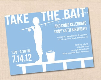 FISHING personalized printable birthday party invitation DIY