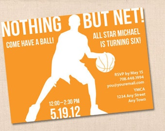 NOTHING BUT NET basketball personalized printable birthday party invitation diy