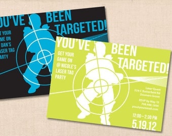 You've Been Targeted LASER TAG personalized printable birthday party invitation diy