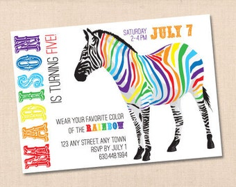 RAINBOW ZEBRA personalized printable party invitation diy
