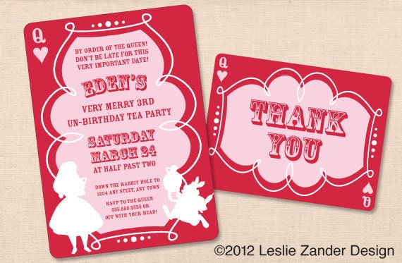 ALICE IN WONDERLAND personalized printable birthday tea party invitation diy