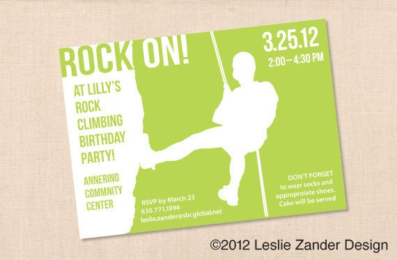 ROCK CLIMBING personalized printable birthday party invitation