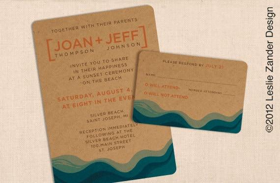 CHIPBOARD KRAFT Paper BEACH Modern Casual Wedding Invitation